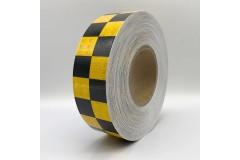 """Лента светоотражающая призматическая (световозвращающая) самоклеющая, """"ШАШКА"""" цвет: желто-черная, длина 1 метр, ширина 5 см"""