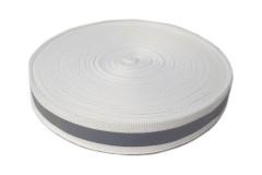 Лента светоотражающая, флуоресцентно белая с серой полосой влагозащищенная, ширина 20 мм, 1 метр