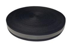 Лента светоотражающая, черная с серой полосой влагозащищенная, ширина 20 мм, 1 метр