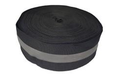Лента светоотражающая, флуоресцентная черная с серой полосой влагозащищенная, ширина 50 мм, 1 метр