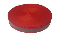 Лента светоотражающая, красная с серой полосой влагозащищенная, ширина 20 мм, 1 метр