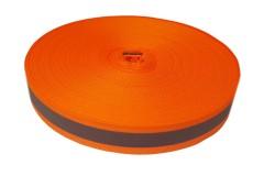 Лента светоотражающая, флуоресцентно оранжевая с серой полосой влагозащищенная, ширина 20 мм, 1 метр