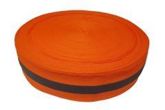 Лента светоотражающая, флуоресцентная оранжевая с серой полосой влагозащищенная, ширина 50 мм, 1 метр