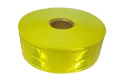 """Лента светоотражающая (катафотная) латексная клеенчатая (водооталкивающая) """"КВАДРАТЫ"""" жёлтый глянцевый, ширина 50мм, 1 метр"""