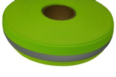 Лента светоотражающая, флуоресцентная желтая с серой полосой резинка, ширина 50 мм, 1 метр