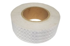 Лента светоотражающая призматическая (световозвращающая) самоклеющая, цвет: белый, длина 1 метр, ширина 5 см