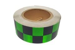 """Лента светоотражающая призматическая (световозвращающая) самоклеющая, """"ШАШКА"""" цвет: зелено-черная, длина 1 метр, ширина 5 см"""