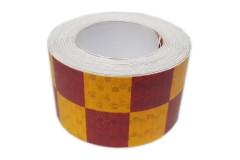 """Лента светоотражающая призматическая (световозвращающая) самоклеющая, """"ШАШКА"""" цвет: красно-желтый, длина 1 метр, ширина 5 см"""