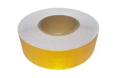 Лента светоотражающая призматическая (световозвращающая) самоклеющая, цвет: желтый, длина 1 метр, ширина 5 см