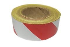 Лента световозвращающая Reflective под 45 градусов самоклеющаяся (Красно-белая) 1 метр, ширина 50мм