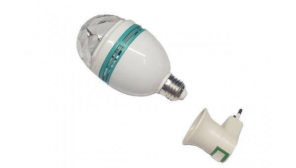 Диско лампа RGB с цоколем Е27 + вилка